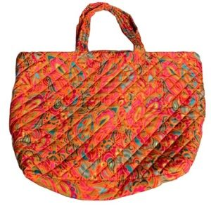 Large Quilted Paisley Tote Bag with Zipper